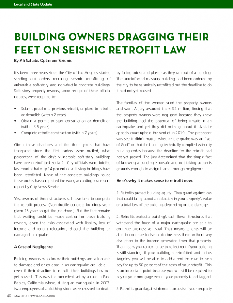 May 2019 - Building Owners Dragging Their Feet on Seismic